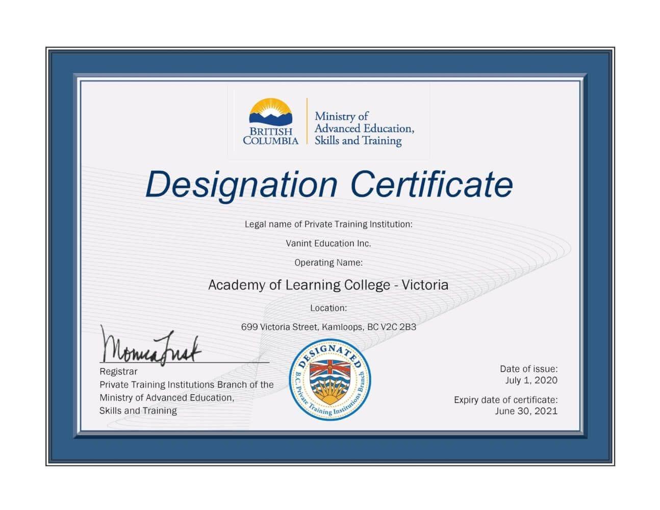 Kamloops BC Career Training Designated