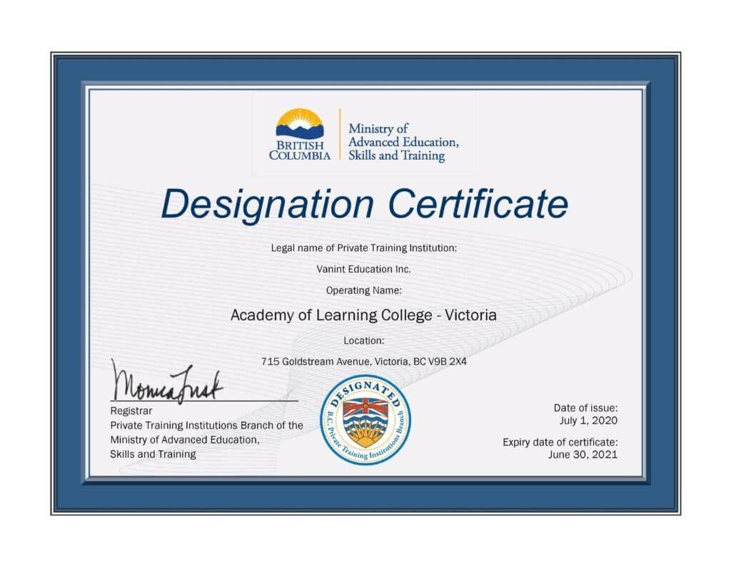 Victoria BC Westshore Career Training Designated